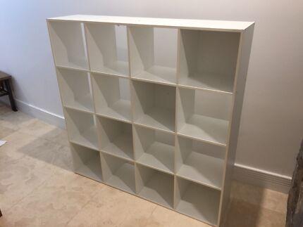 White cube storage, shelves