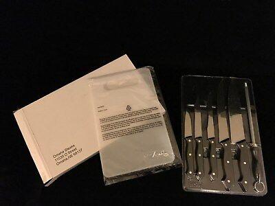 Omaha Steaks 7 Pc Knife Set W  Cutting Board And Sharpener 8037 Sealed
