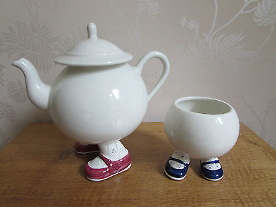 PRICE KENSINGTON Carlton Lustre Walking Ware Sugar Basin Tea Pot Blue Pink Shoes