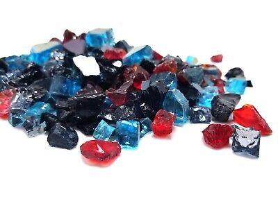 Black Red Blue Blend Reflective Fireglass - Fireplace & Fire Pit Glass Crystals Black Reflective Fire Glass
