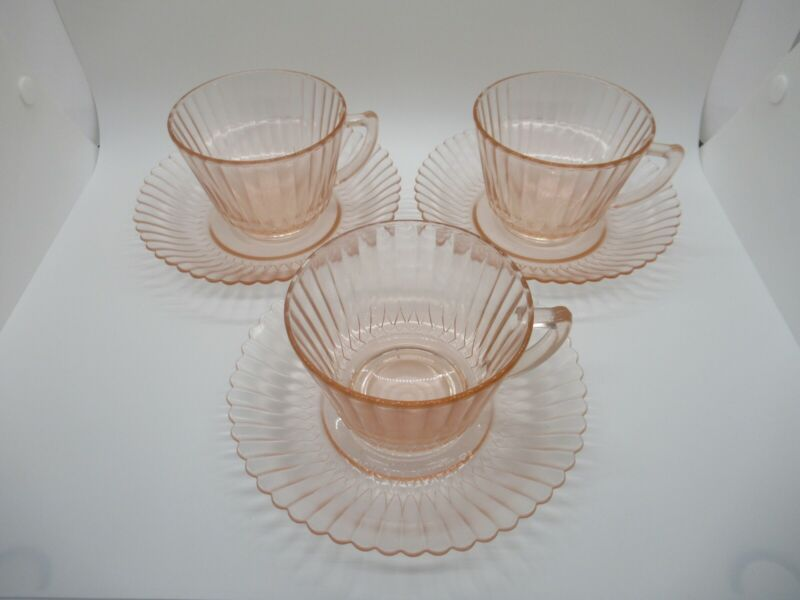 """Vintage Pink Clear Depression Glass Set of 3 Cups and Saucers Set- Cups 2 1/2"""" H"""