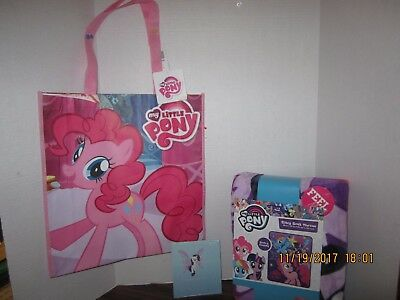 (My Little Pony Fleece Pink  Silky Soft Throw Blanket 40 x 50 & Tote bag & Pop Up)