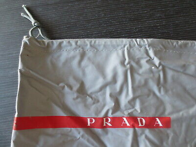 authentic prada dust bag vinyl gray drawstring for shoes handbag storage 13x15
