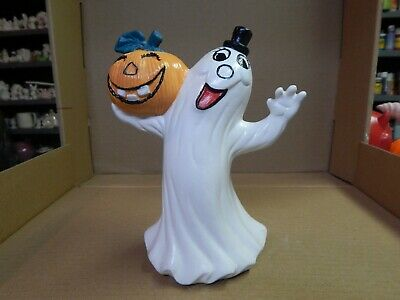 "Vintage Hand Painted Ceramic 8"" Ghost Holding Jack-O-Lantern Figure Halloween"
