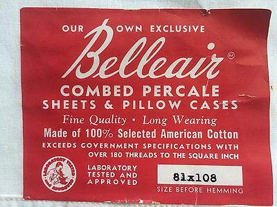 """fine percale cotton sheet 81"""" vintage NWT NU GREAT GRAPHICS BELLEAIR DEAD STOCK"""