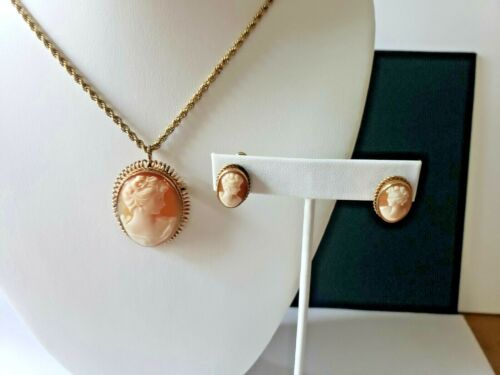 Van Dell 12k Gold Filled Cameo Necklace, Pendant/Pin, Screwback Cameo Earrings