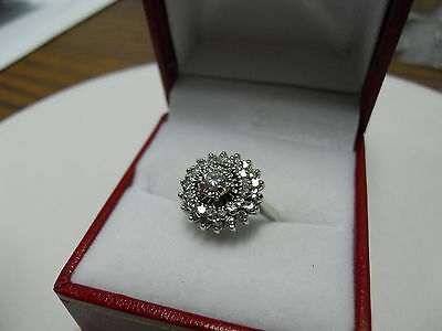 14K White Gold Ladies Vintage Estate Round Diamond Cluster Ring on Rummage