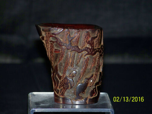 Chinese Hand Carved Ox Horn Libation Cup