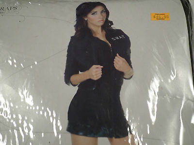 SEXY WOMENS SWAT BLACK DRESS HALLOWEEN COSTUME SIZE X-LARGE