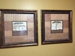 Two Large framed prints of trees