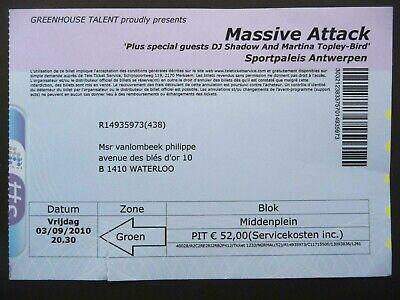 Concert Ticket - MASSIVE ATTACK- Sportpaleis - Antwerp - Belgium - 2010