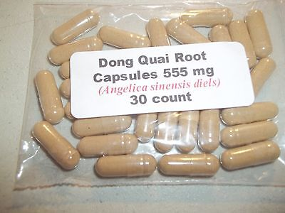 - Dong Quai Root Powder Capsules (Angelica sinensis) 555 mg.  30 count