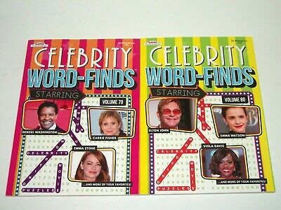 Lot of 2 Kappa Celebrity Word Finds Search Puzzle Books Vol. 79-80 NEW