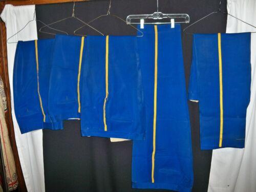 Lot of 5 Bright Blue Uniform Pant Gold Braid Pimlico Racetrack Usher Vintage 70s