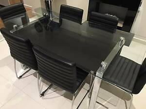 Ex-display home 6 seater tempered glass dining table chairs Adelaide CBD Adelaide City Preview