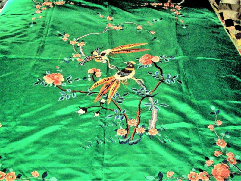 """Silk EMBROIDERY 58"""" x 70"""" GREEN Fabric with Exotic Birds and Flowers"""