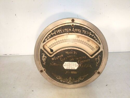 Large antique Weston ammeter Weston electrical instrument company no 35331 gauge