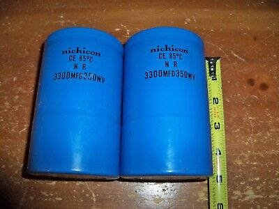 Lot Of 2 -- Nichicon Capacitors - Type N R -- 3300 Mfd -- 350 Wv -- Ce 85c