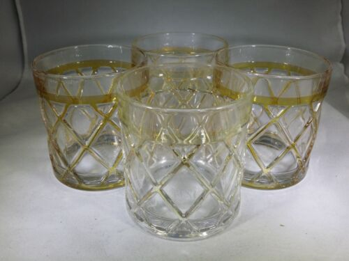 4 Vintage JOSEPH ALTUZARRA LOW BALL BAR GLASSES HEAVY  MID CENTURY MODERN