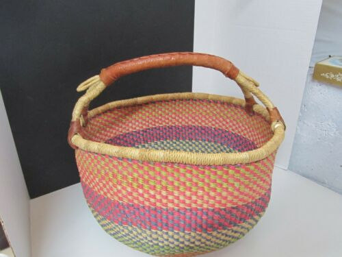 Large Hand Crafted Straw Bolga Leather Wrapped Handle Basket Ghana Multi-color