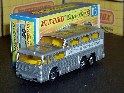 Matchbox Lesney Superfast Greyhound Coach MB66-A2 black caps VNM & crafted box