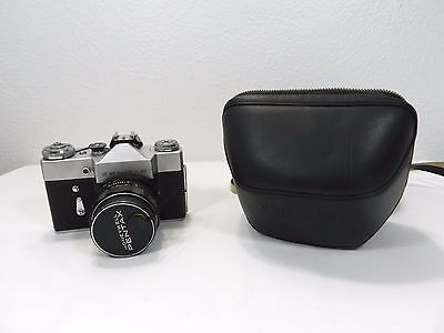 Vintage Zenit B Camera W/ Super Takumar 50mm 1:1.4 Asahi Pentax Lens