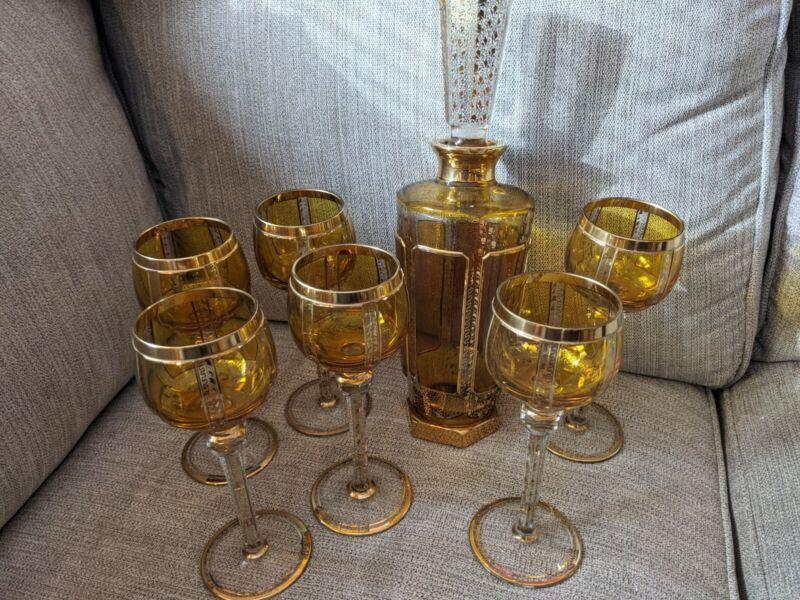 STUNNING GOLD CRYSTAL MOSER BOHEMIAN DECANTER & GLASSES SET MINT