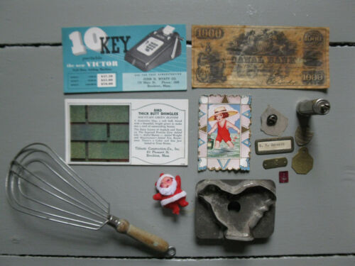Vintage JUNK DRAWER LOT Advertising SANTA Kitchen Chicken Metal Tags Estate MORE