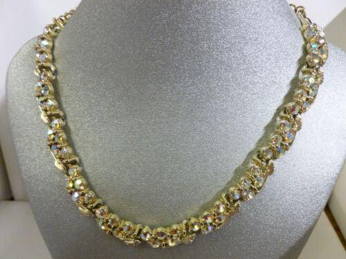 Vintage BSK Gold Tone Leaves & AB Rhinestone Necklace