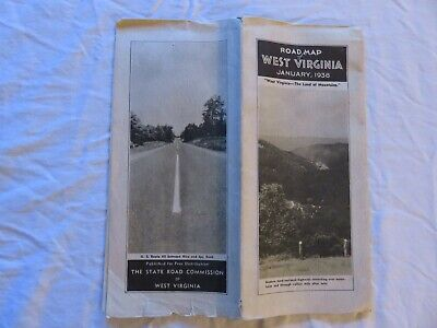 West Virginia State Road Map January 1938 Issued By The State Road Commission