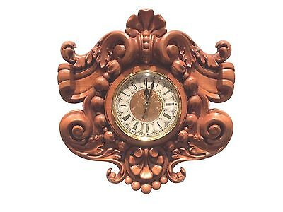 """Hand Carved Solid Hardwood Wall Clock 13-3/4"""" x 13""""W  with 5"""" CLOCK FIT UP"""