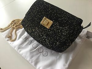 Jimmy Choo black suede and gold speckles bag new