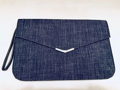 (FENDI 2Jours Denim Envelope Clutch Handbag Wristlet NWT)