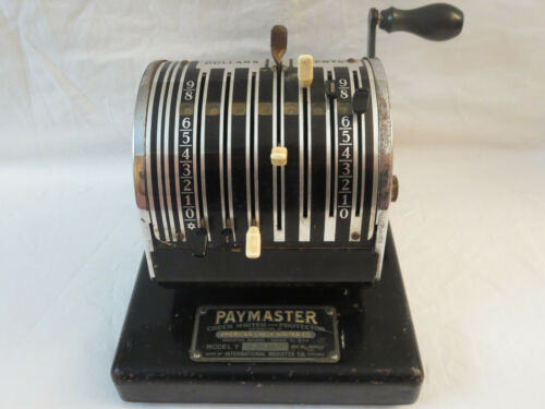 Paymaster Check Writer and Protector Model Y International Register Made in USA