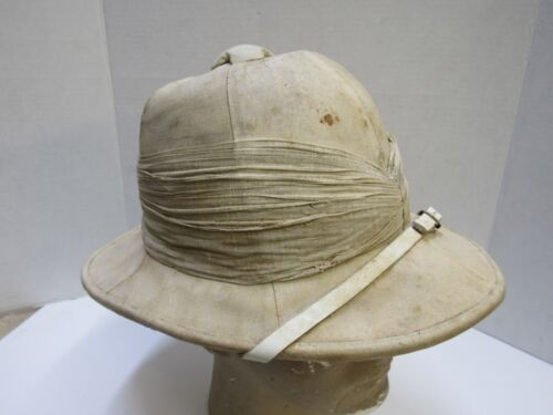 Vintage British Wolseley Pattern Sun Hat Tropical Pith Helmet WW1  Blancoed