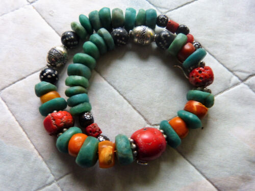 Antique Moroccan amber, coral  and antique amazonite beads necklace, 110 g