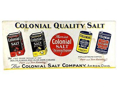 Colonial Salt Advertising Card Iodized Table & Cooking Salt Akron Ohio Vintage