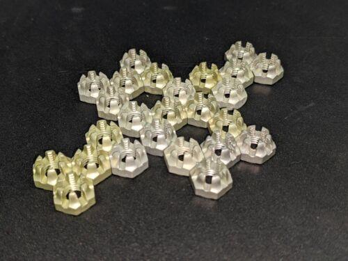 25 LOCKING 1/4-28 hex CASTLE NUTS nut AIRCRAFT LOCK fine thread