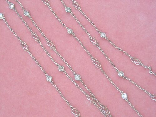 """ART DECO STYLE 2.16ctw DIAMOND BY-THE-YARD PLATINUM 40-3/8"""" CHAIN NECKLACE"""