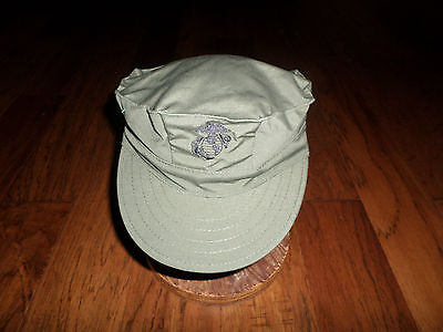 MARINE CORPS STYLE UTILITY HAT U.S.M.C  MILITARY OD GREEN CAP SIZE LARGE 7 1/2