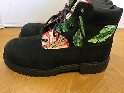Timberland Black Floral Boots Youth Shoes Size 3 w/ Flowers 12707M Unique  - Unique Boys Shoes