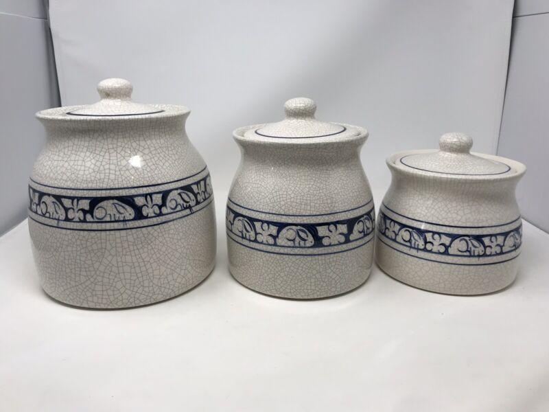 Dedham Pottery Rabbit Bunny Canister Jar Set w/ Lid J13 J15 J17