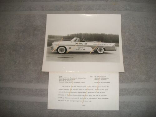 ORG 1956 DESOTO OFFICIAL INDY 500 PACE CAR DEALERSHIP PRESS PHOTO WITH INFO.