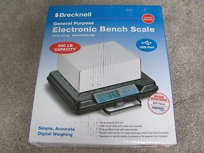 Brand New Brecknell Gp250-usb Electronic Portable Bench Scale 250lb Capacity