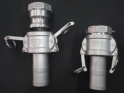 Stainless Steel Cam Lock 1 12 Npt - 1 12 Hose Barb Assembly Clhba125