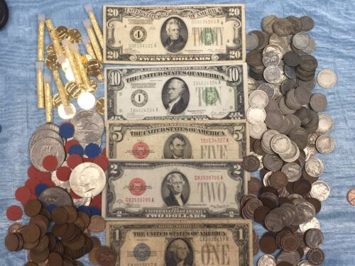 1928 LOT(5 pc) $1 $2 $5 $10 $20 FRN/SILVER CERTIFICATE CURRENCY NOTES+++MORE