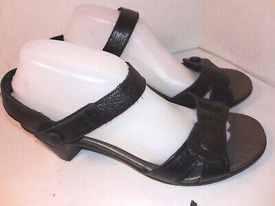 Avalon Black Leather - Avalon Black Leather Sandals Pumps Heels Ankle Strap Hook Loop Womens Size 9.5 D