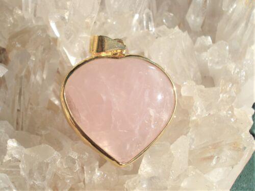 Rose Quartz-Heart Gem Quality 18K Gold on Silver Pendant-Beautiful Gift!