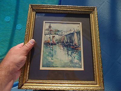 ANTIQUE VINTAGE WATERCOLOR PAINTING HARBOR SCENE Signed Monet ?