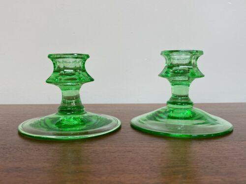 Fostoria FAIRFAX Green Single Light Candlestick ~ Pair